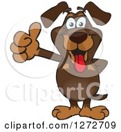 Clipart Of A Happy Dachshund Dog Giving A Thumb Up Royalty Free Vector Illustration