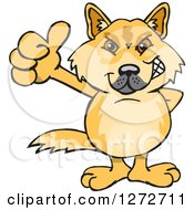 Clipart Of A Dingo Giving A Thumb Up Royalty Free Vector Illustration