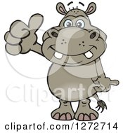 Clipart Of A Happy Hippo Giving A Thumb Up Royalty Free Vector Illustration by Dennis Holmes Designs