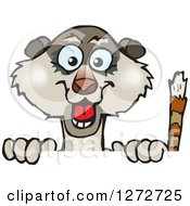 Clipart Of A Happy Meerkat Peeking Over A Sign Royalty Free Vector Illustration by Dennis Holmes Designs