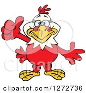 Clipart Of A Happy Hen Giving A Thumb Up Royalty Free Vector Illustration