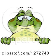 Clipart Of A Happy Bullfrog Peeking Over A Sign Royalty Free Vector Illustration