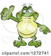 Clipart Of A Happy Bullfrog Giving A Thumb Up Royalty Free Vector Illustration