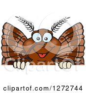 Clipart Of A Happy Moth Peeking Over A Sign Royalty Free Vector Illustration