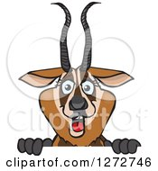 Clipart Of A Happy Gazelle Peeking Over A Sign Royalty Free Vector Illustration by Dennis Holmes Designs
