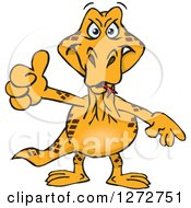 Clipart Of A Goanna Lizard Giving A Thumb Up Royalty Free Vector Illustration by Dennis Holmes Designs