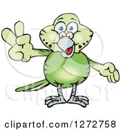 Clipart Of A Happy Green Budgie Parakeet Bird Gesturing Peace Royalty Free Vector Illustration by Dennis Holmes Designs