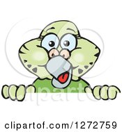 Clipart Of A Happy Green Budgie Parakeet Bird Peeking Over A Sign Royalty Free Vector Illustration by Dennis Holmes Designs