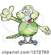 Clipart Of A Happy Green Budgie Parakeet Bird Giving A Thumb Up Royalty Free Vector Illustration by Dennis Holmes Designs