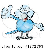 Clipart Of A Happy Light Blue Budgie Parakeet Bird Giving A Thumb Up Royalty Free Vector Illustration by Dennis Holmes Designs