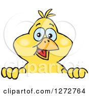 Clipart Of A Happy Yellow Canary Bird Peeking Over A Sign Royalty Free Vector Illustration by Dennis Holmes Designs