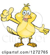 Clipart Of A Happy Yellow Canary Bird Presenting And Giving A Thumb Up Royalty Free Vector Illustration by Dennis Holmes Designs