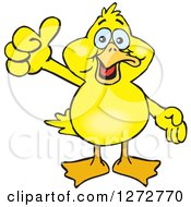 Clipart Of A Happy Yellow Duck Giving A Thumb Up Royalty Free Vector Illustration by Dennis Holmes Designs