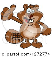 Clipart Of A Happy Beaver Giving A Thumb Up Royalty Free Vector Illustration by Dennis Holmes Designs