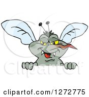Clipart Of A Mosquito Peeking Over A Sign Royalty Free Vector Illustration by Dennis Holmes Designs