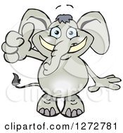 Clipart Of A Happy Gray Elephant Giving A Thumb Up Royalty Free Vector Illustration by Dennis Holmes Designs