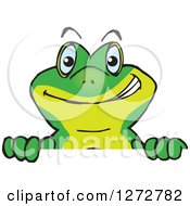Clipart Of A Happy Gecko Peeking Over A Sign Royalty Free Vector Illustration by Dennis Holmes Designs