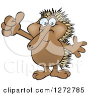 Clipart Of A Happy Echidna Giving A Thumb Up Royalty Free Vector Illustration by Dennis Holmes Designs