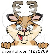 Clipart Of A Happy Doe Deer Peeking Over A Sign Royalty Free Vector Illustration