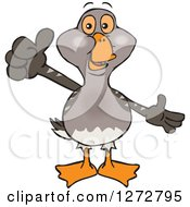 Clipart Of A Happy Goose Presenting And Giving A Thumb Up Royalty Free Vector Illustration by Dennis Holmes Designs