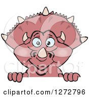 Clipart Of A Happy Pink Triceratops Dinosaur Peeking Over A Sign Royalty Free Vector Illustration by Dennis Holmes Designs