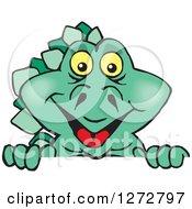 Clipart Of A Happy Green Stegosaur Dinosaur Peeking Over A Sign Royalty Free Vector Illustration
