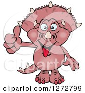 Clipart Of A Happy Pink Triceratops Dinosaur Giving A Thumb Up Royalty Free Vector Illustration by Dennis Holmes Designs