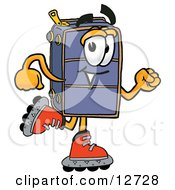 Suitcase Cartoon Character Roller Blading On Inline Skates