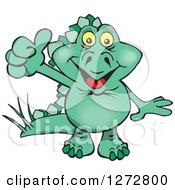 Clipart Of A Happy Green Stegosaur Dinosaur Giving A Thumb Up Royalty Free Vector Illustration