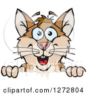 Clipart Of A Happy Hamster Peeking Over A Sign Royalty Free Vector Illustration by Dennis Holmes Designs