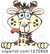 Clipart Of A Silly Giraffe Peeking Over A Sign Royalty Free Vector Illustration by Dennis Holmes Designs