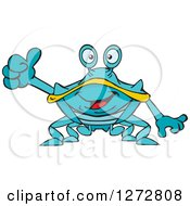 Clipart Of A Happy Blue And Yellow Crab Giving A Thumb Up Royalty Free Vector Illustration