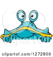 Clipart Of A Happy Blue And Yellow Crab Peeking Over A Sign Royalty Free Vector Illustration by Dennis Holmes Designs