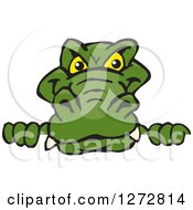 Clipart Of An Alligator Peeking Over A Sign Royalty Free Vector Illustration by Dennis Holmes Designs