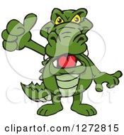 Clipart Of An Alligator Giving A Thumb Up Royalty Free Vector Illustration by Dennis Holmes Designs
