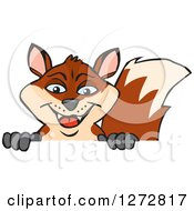 Clipart Of A Happy Fox Peeking Over A Sign Royalty Free Vector Illustration by Dennis Holmes Designs