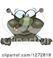 Clipart Of A Happy House Fly Peeking Over A Sign Royalty Free Vector Illustration