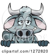 Clipart Of A Happy Brahman Bull Peeking Over A Sign Royalty Free Vector Illustration