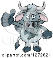 Clipart Of A Happy Brahman Bull Giving A Thumb Up Royalty Free Vector Illustration by Dennis Holmes Designs