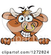 Clipart Of A Happy Brown Bull Peeking Over A Sign Royalty Free Vector Illustration by Dennis Holmes Designs