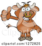 Clipart Of A Happy Brown Bull Giving A Thumb Up Royalty Free Vector Illustration by Dennis Holmes Designs