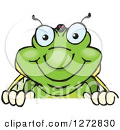 Clipart Of A Happy Cicada Peeking Over A Sign Royalty Free Vector Illustration