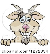 Clipart Of A Happy Brown Goat Peeking Over A Sign Royalty Free Vector Illustration by Dennis Holmes Designs