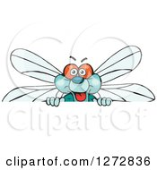 Clipart Of A Happy Dragonfly Peeking Over A Sign Royalty Free Vector Illustration by Dennis Holmes Designs