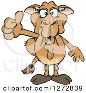 Clipart Of A Blue Eyed Camel Giving A Thumb Up Royalty Free Vector Illustration by Dennis Holmes Designs