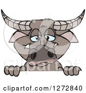 Clipart Of A Happy Buffalo Peeking Over A Sign Royalty Free Vector Illustration by Dennis Holmes Designs