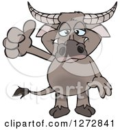 Clipart Of A Happy Buffalo Giving A Thumb Up Royalty Free Vector Illustration by Dennis Holmes Designs