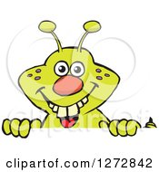 Clipart Of A Happy Green Caterpillar Peeking Over A Sign Royalty Free Vector Illustration