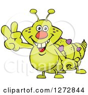Clipart Of A Happy Green Caterpillar Gesturing Peace Royalty Free Vector Illustration