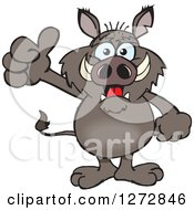 Clipart Of A Happy Boar Giving A Thumb Up Royalty Free Vector Illustration